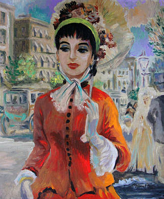 Woman With Parasol In Paris Poster by Karon Melillo DeVega