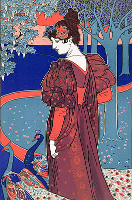 Woman With Peacocks Poster by Louis John Rhead