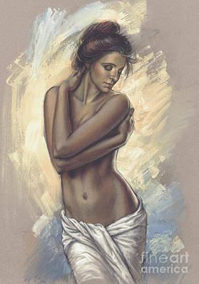 Woman With White Drape Poster by Zorina Baldescu