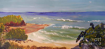 Poster featuring the painting Wombarra Beach by Pamela  Meredith