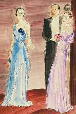 Women And A Man In Evening Wear Poster by Rene Bouet-Willaumez