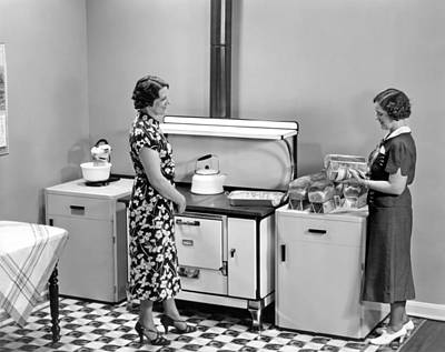 Women Baking Bread Poster by Underwood Archives