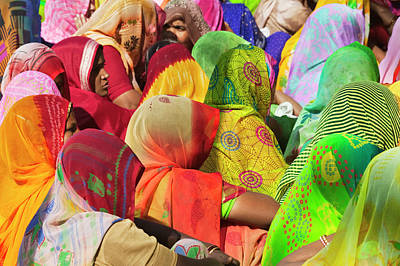 Women In Colorful Saris Gather Poster by Keren Su