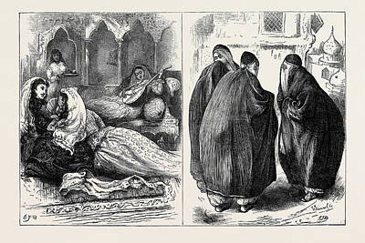Women In Persia In The Harem Left In The Street Right Poster by English School