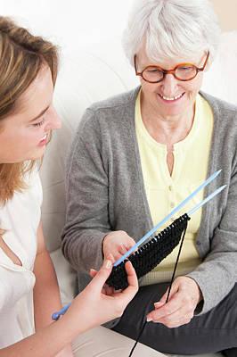 Women Knitting Poster