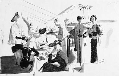 Women Lunching In A Tent Poster by Artist Unknown