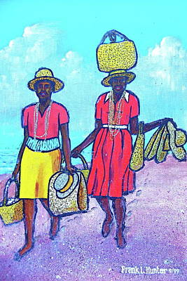 Women On Beach At Grenada Poster by Frank Hunter