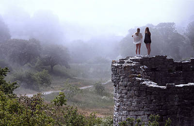 Women Overlooking Bright Foggy Valley Poster