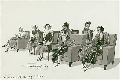 Women Sitting In A Waiting Room Poster by Pierre Brissaud