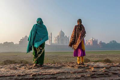 Women Walking Mehtab Bagh, Moon Garden Poster by Tom Norring