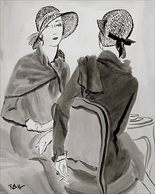 Women Wearing Agnes Hats Poster by Rene Bouet-Willaumez