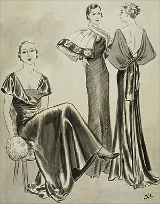 Women Wearing Dresses By Mainbocher Poster by Creelman