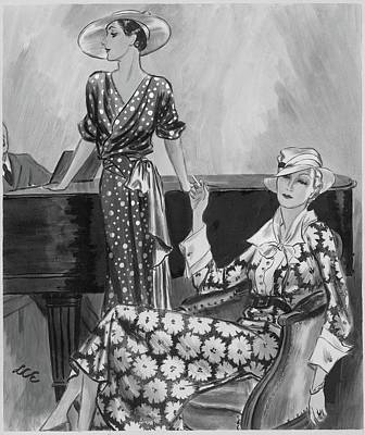 Women Wearing Printed Dresses Poster