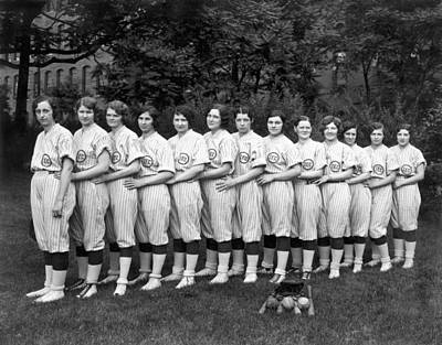 Women's Baseball Team Poster by Underwood Archives