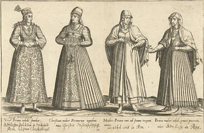 Womens Dress From Constantinople Around 1580 Poster by Abraham De Bruyn And Joos De Bosscher
