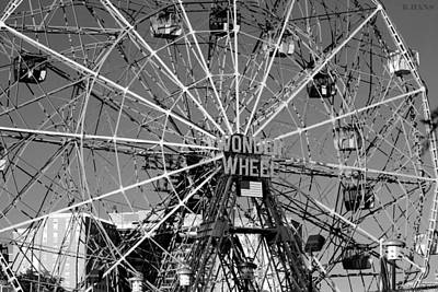 Wonder Wheel Of Coney Island In Black And White Poster
