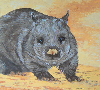 Poster featuring the painting Wonderful Wombat by Margaret Saheed