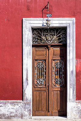 Poster featuring the photograph Wood And Wrought Iron Doorway In Merida by Mark E Tisdale