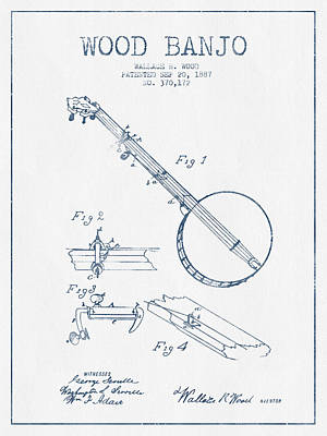 Wood Banjo Patent Drawing From 1887 - Blue Ink Poster