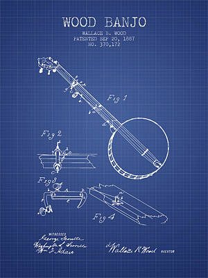 Wood Banjo Patent From 1887 - Blueprint Poster