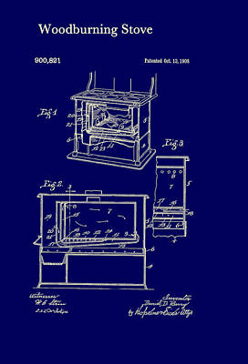 Wood Burning Stove Patent 1908 Poster