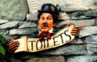 Wood Carved Toilet Sign Poster