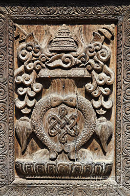 Wood Carving At Bhaktapur In Nepal Poster by Robert Preston