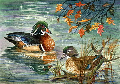Wood Duck Pair Poster by Marilyn Smith