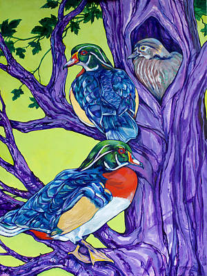 Wood Duck Tree Poster by Derrick Higgins