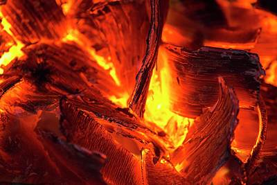 Wood Glowing On A Fire Poster by Ashley Cooper