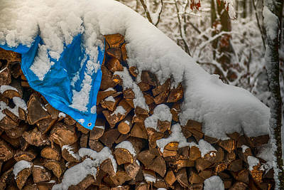 Wood Pile In The Snow Poster by Paul Freidlund