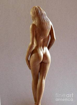 Wood Sculpture Of Naked Woman - Rear View Poster