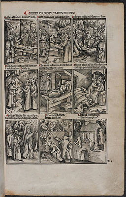 Woodcuts Of Priest's Activities Poster
