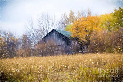 Wooden Autumn Barn Poster