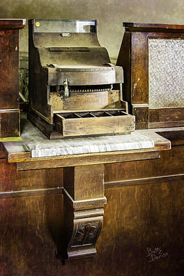 Poster featuring the photograph Wooden Bank Cash Register by Betty Denise
