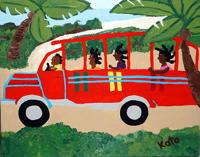 Wooden Bus To Town Poster by Kato Charles