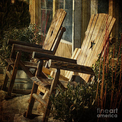 Wooden Chairs Poster by Judy Wolinsky