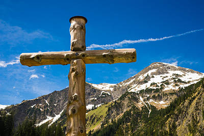 Wooden Cross In The Mountains Poster by Matthias Hauser