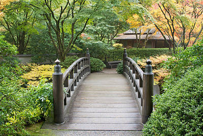 Poster featuring the photograph Wooden Foot Bridge In Japanese Garden by JPLDesigns