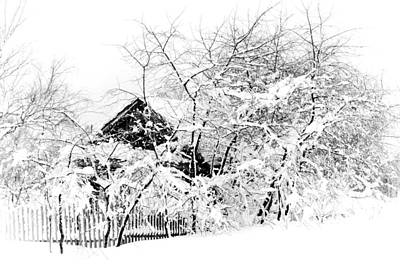 Wooden House After Heavy Snowfall. Russia Poster