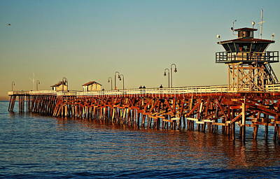 Wooden Pier In San Clemente Ca Poster by Richard Cheski