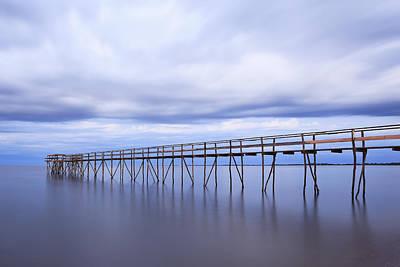Wooden Pier On Lake Winnipeg At Dusk Poster by Ken Gillespie