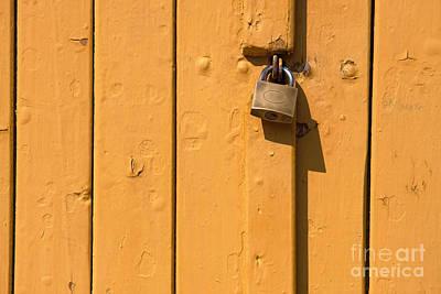 Wooden Plank Door Steel Lock Poster