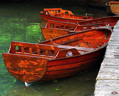 Poster featuring the photograph Wooden Rowboats by Ramona Johnston