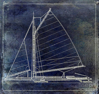 Wooden Sailboat Blue Poster