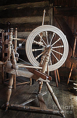 Poster featuring the photograph Wooden Spinning Wheel by Sebastian Mathews Szewczyk