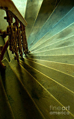 Wooden Spiral Stairs In Green And Blue Poster by Jaroslaw Blaminsky