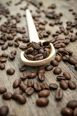 Wooden Spoon With Coffee Beans Poster by Aged Pixel
