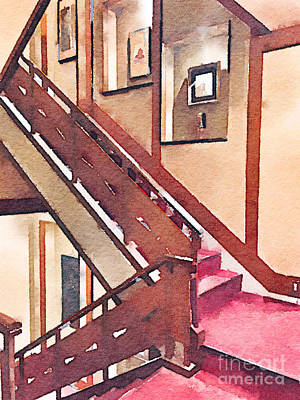 Wooden Staircase At A Japanese-style Inn Poster by Beverly Claire Kaiya