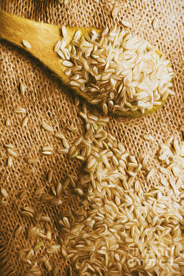 Wooden Tablespoon Serving Of Uncooked Brown Rice Poster by Jorgo Photography - Wall Art Gallery